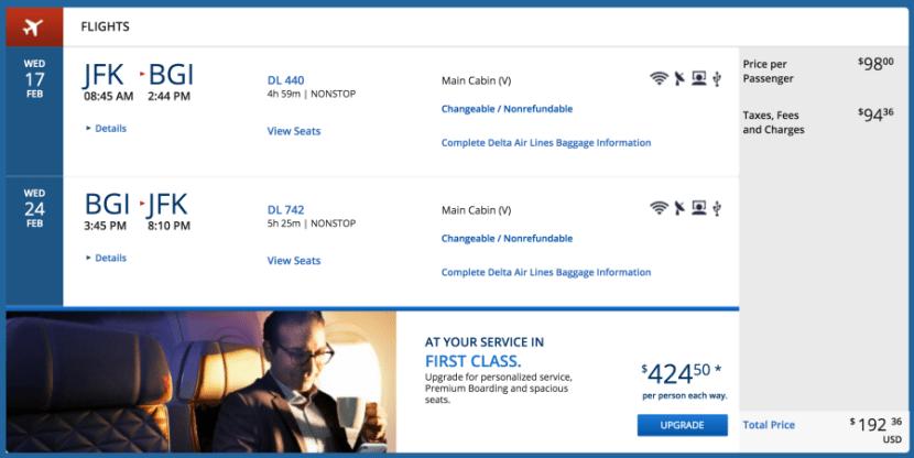 JFK to Barbados for $192 round-trip/