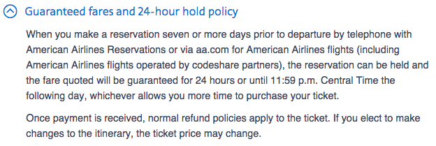 American's 24 hour hold policy has unfortunately tripped up a few TPG readers.