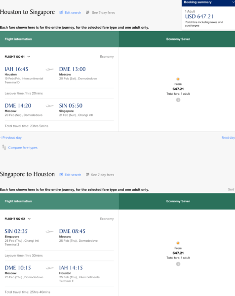 Houston to Singapore on Singapore for $649.