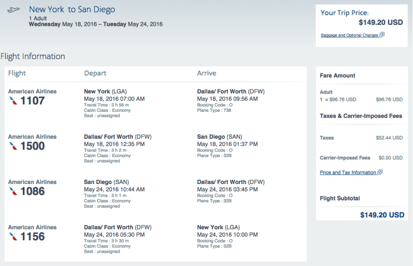 New York (LGA) to San Diego (SAN) for $149 round-trip on American Airlines.
