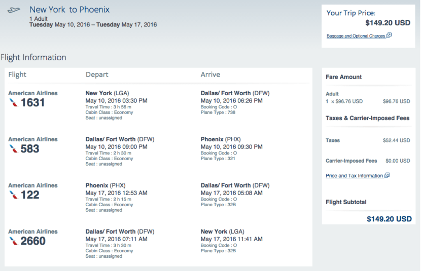 New York (LGA) to Phoenix (PHX) for $149 round-trip on American Airlines.