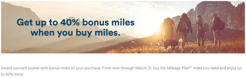 Alaska Airways' new buy miles promotion offers up to 40% bonus miles.