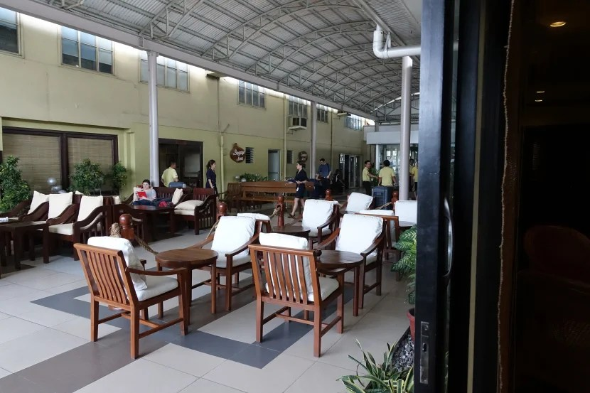 There's also an outdoor area in the Amanpulo Lounge.