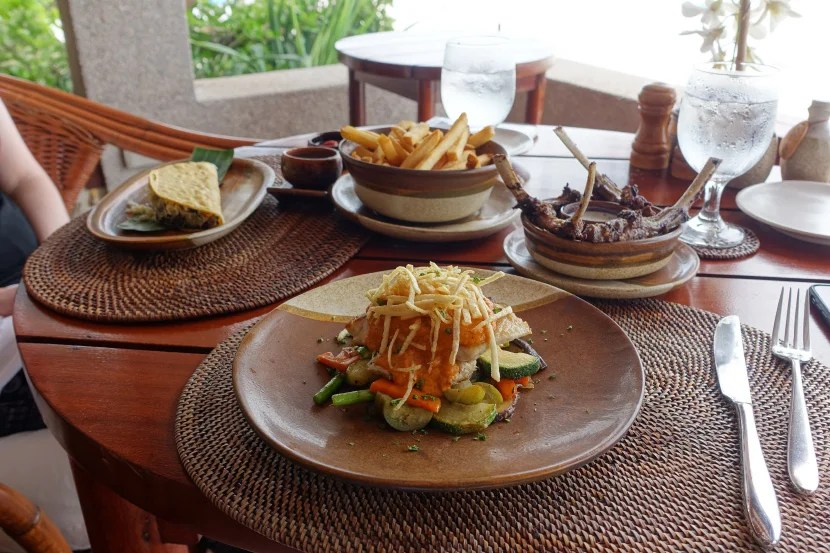 Lunch at the beach bar, which offers the best view of any of the island's restaurants.