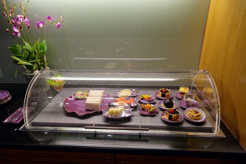 A selection of snacks available in the lounge.