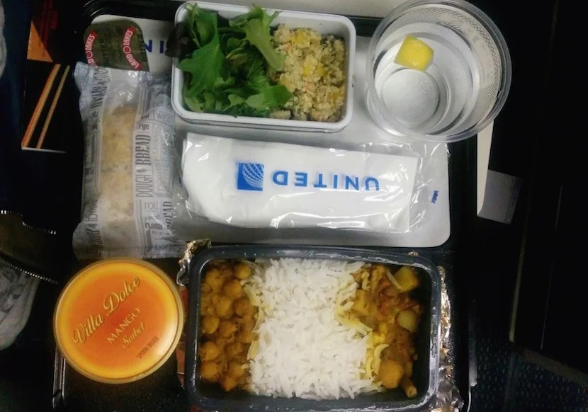 A Hindu vegetarian dinner on a United Airlines flight from Chicago to London in June 2015.