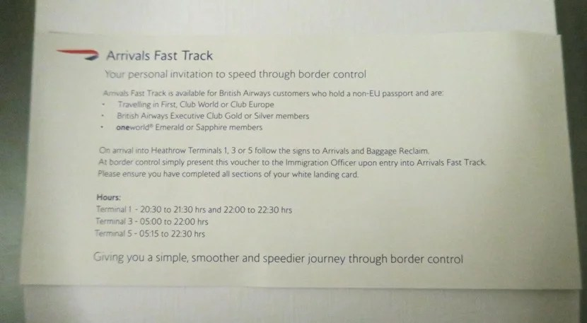 This fast track would've been much more helpful during a busier time.