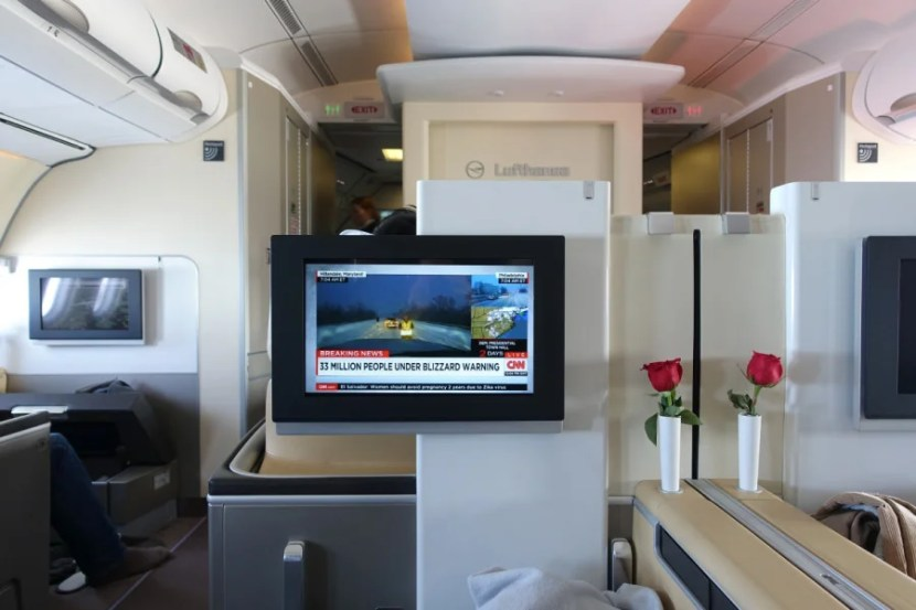 Watching live CNN storm coverage from the plane.
