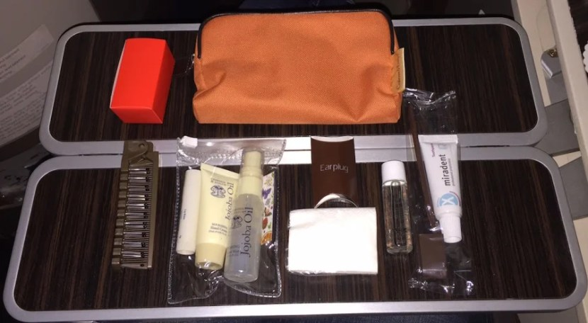 I was given an amenity kit shortly after takeoff.