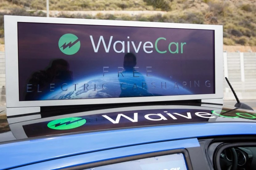 Currently the LCD panel displays house ads for WaiveCar, but will eventually feature other advertisers.