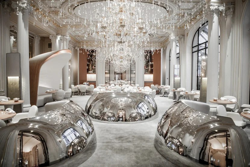Alain Ducasse au Plaza Athénée is one of the city's latest spots to earn three Michelin stars. Image courtesy of Hôtel Plaza Athénée.