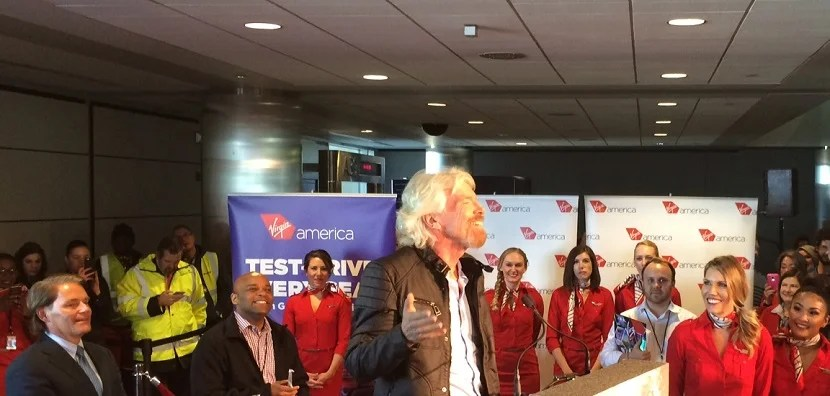 Sir Richard Branson and Denver Mayor Michael Hancock at Virgin America's inaugural flight to Denver.