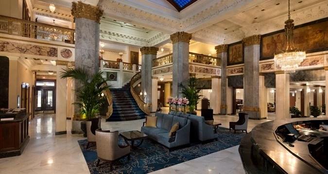 The Seelbach Hilton's opulent lobby.