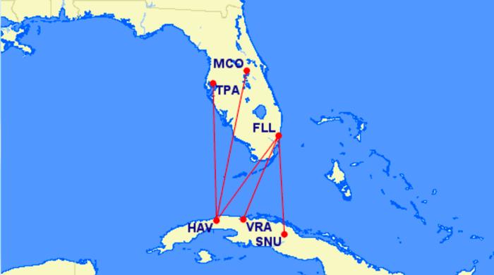 Southwest's planned Cuba routes.