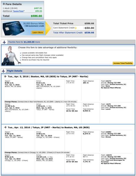 Boston (BOS) to Tokyo (NRT) for $587.