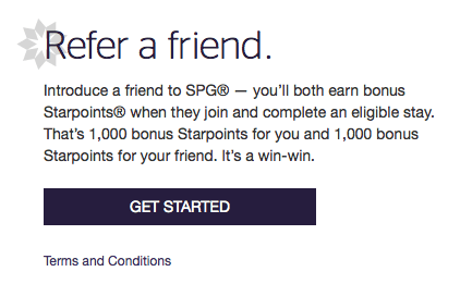 Earn 1,000 Starpoints for referring a friend.