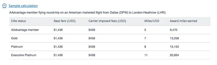A sample calculation for earning redeemable miles under American's upcoming revenue-based system.