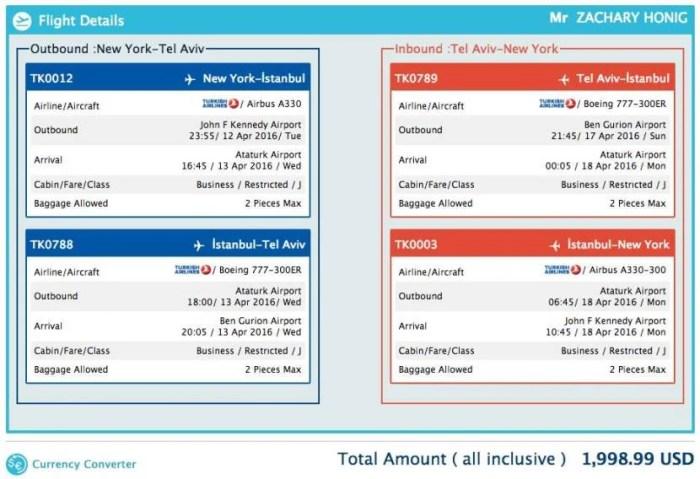 New York (JFK) to Tel Aviv (TLV) for $1,999 in Turkish business class.