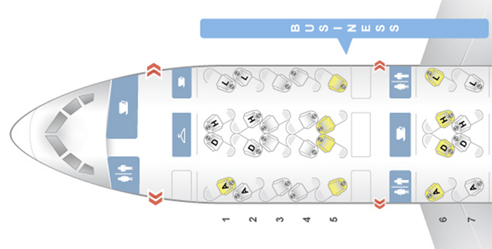 The Boeing 787 Dreamliner features all-aisle access flat-bed seats in business class in a 1-2-1 configuration.