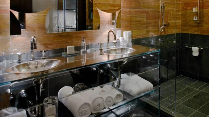 The opulent bathrooms at the Andaz 5th Avenue. Image courtesy of Hyatt.