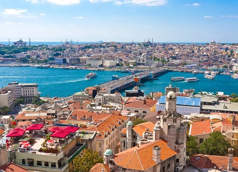 Gorgeous panoramic views of Istanbul from Galata Tower. Image courtesy of Shutterstock.