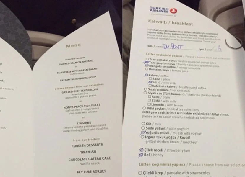 The dinner and breakfast menus on the SIN-IST leg.