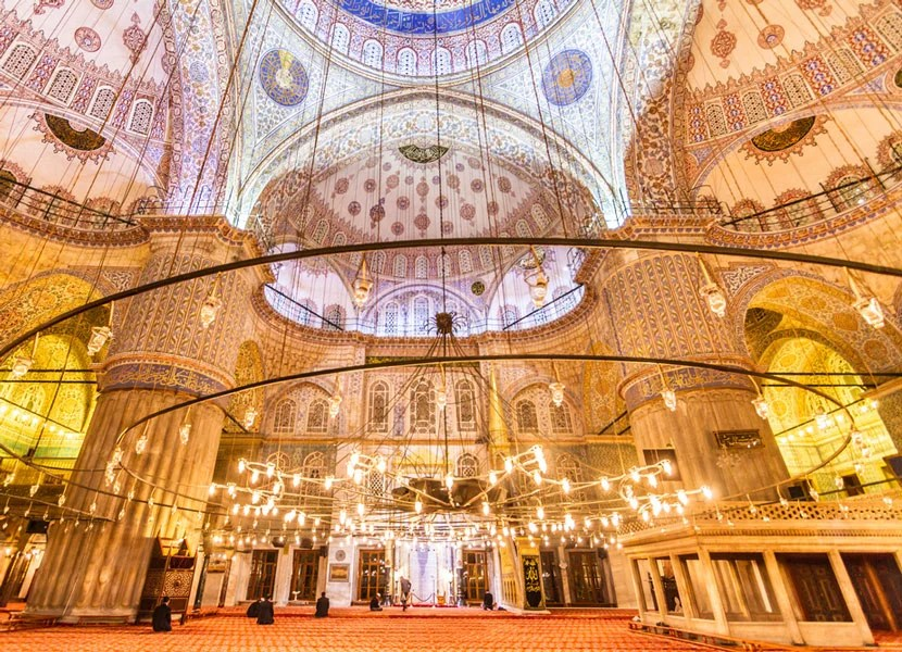 Inside Istanbul's magnificent Blue Mosque. Image courtesy of Shutterstock.