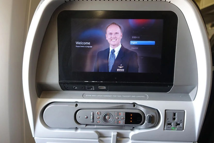 The in-flight entertainment system.