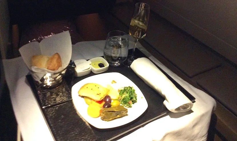 I started with the mezze platter, which was fine, but not as nice as Qatar Airways'.