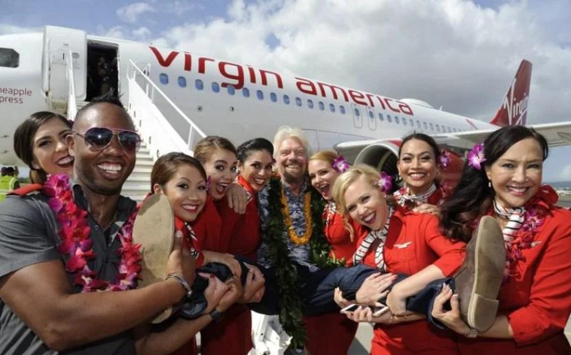 Richard Branson in Hawaii. Photo courtesy of Virgin America.