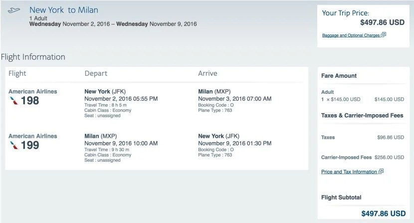 New York (JFK) to Milan (MXP) for $498 round-trip on AA in November.