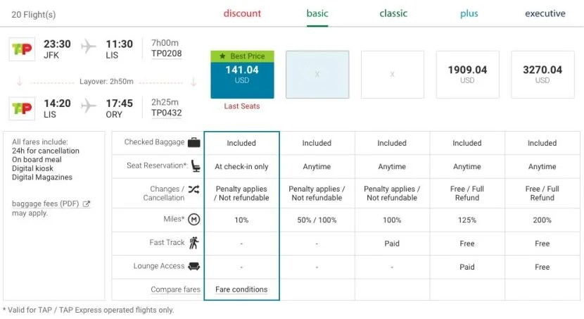 New York (JFK) to Paris (ORY) for $141 on TAP Portugal.