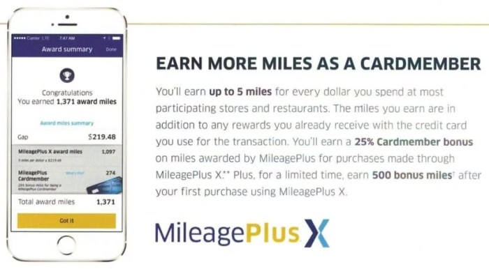 United Mileage Plus X offer of 500 miles for first purchase