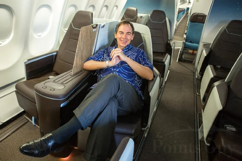 Hawaiian Air CEO Mark B. Dunkerley in the airline's new business-class cabin.