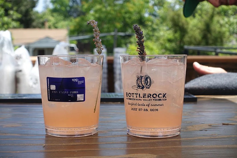 Starwood served refreshing drinks, including this one with lavender and sparkling wine.