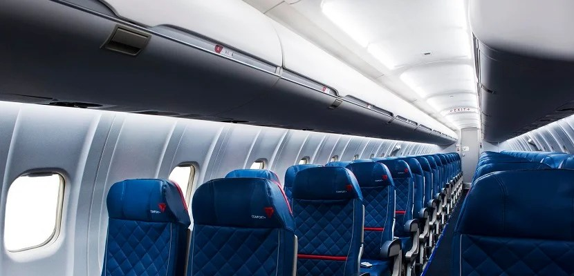 Delta regional jet seats and overhead bins featured