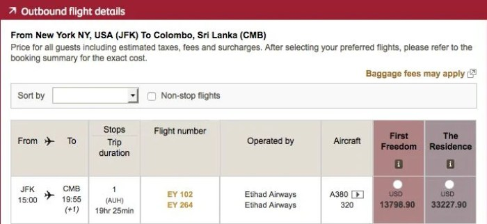 A one-way ticket from New York to Colombo would have cost nearly $14,000!