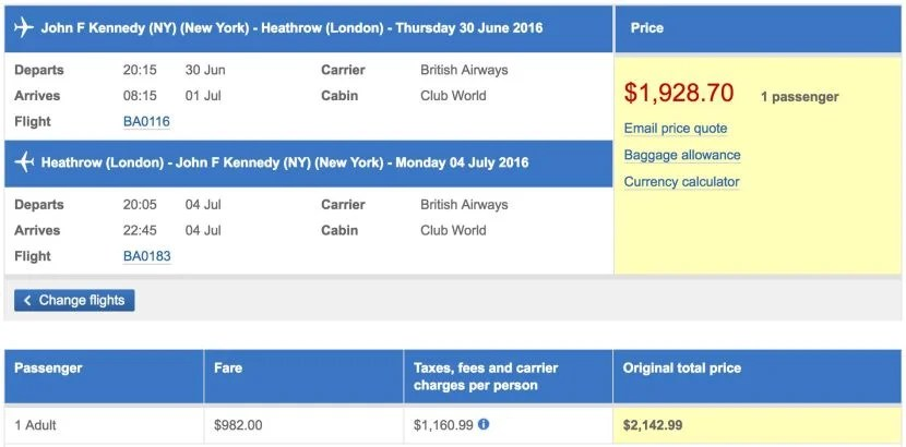 New York (JFK) to London (LHR) in business class on British Airways for $1,929.