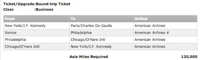 A European open jaw with stopovers in PHL and ORD all in business for 120,000 Asia Miles.