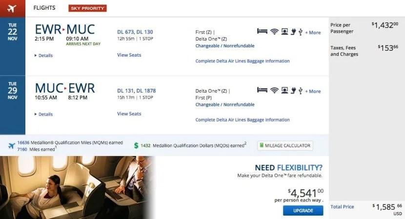 Newark (EWR) to Munich (MUC) for $1,586 round-trip in business class on Delta.