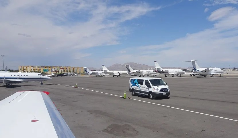 A shuttle van awaits. Even closer to the aircraft (not pictured): Limos!