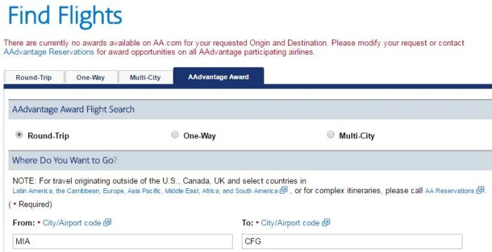 Right now, you can't use AA.com to book - or even search - award tickets to Cuba.