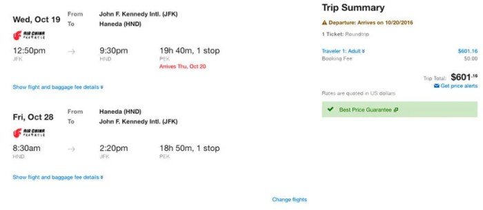 New York (JFK) to Tokyo (HND) for $601 round-trip on Air China.