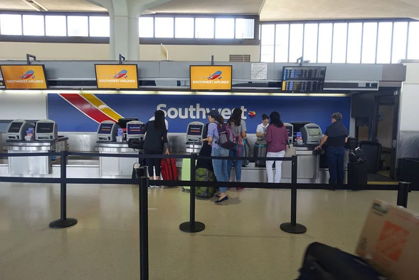 Southwest's small and crowd-free check-in area at EWR.