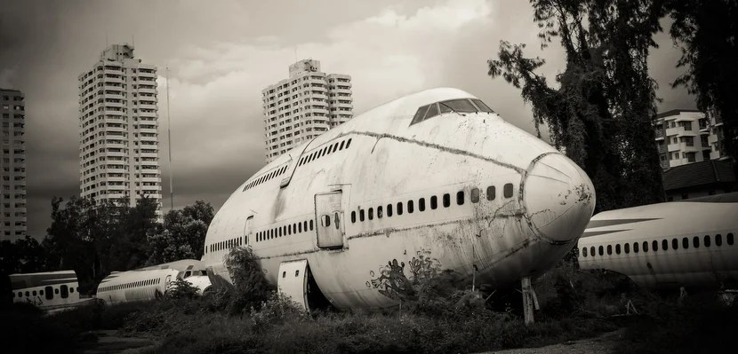An airplane graveyard in Thailand. Image courtesy of Shutterstock.