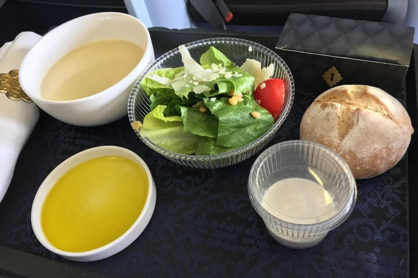 The soup could have used a little garnish, and the plastic salad dressing wasn't pretty, but these are relatively minor issues.