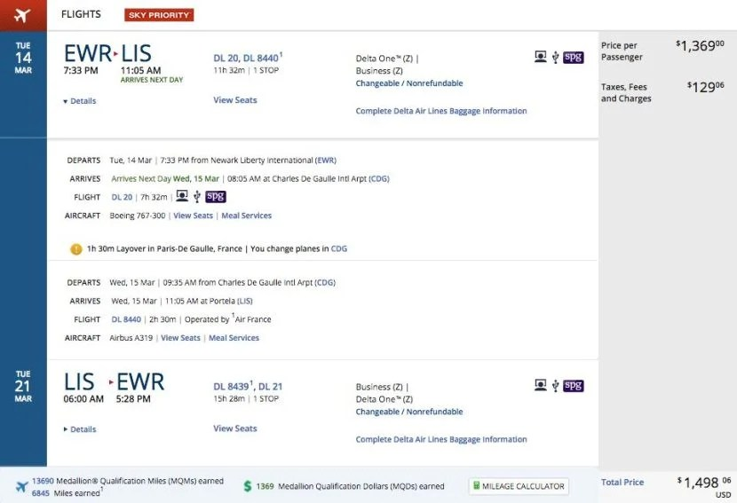 Newark (EWR) to Lisbon (LIS) for $1,498 round-trip in business class on Delta.