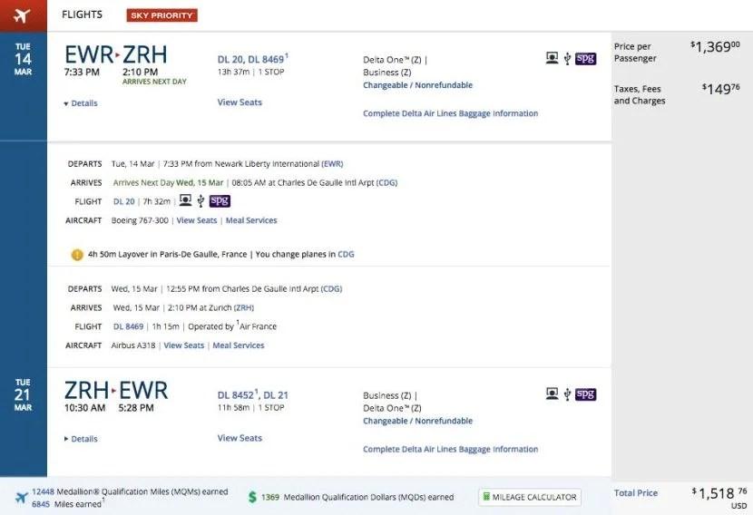 Newark (EWR) to Zurich (ZRH) for $1,519 round-trip in business class on Delta.