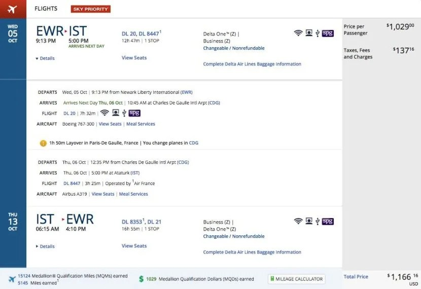 Newark (EWR) to Istanbul (IST) for $1,166 round-trip in business class on Delta.