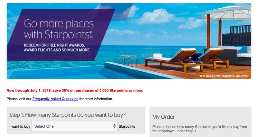 Buy Starpoints at a 30% discount through July 1.